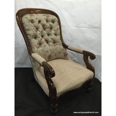 Victorian Mahogany Dual Tone Upholstered Arm Chair