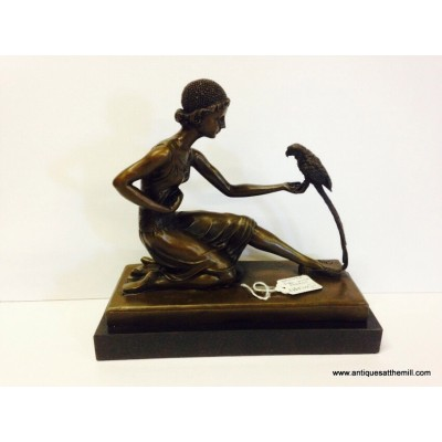 Bronze figure of a Lady and Parrot