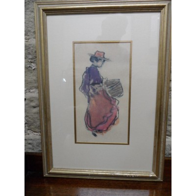 "Print ""Girl with a Hatbox (Milliner's Apprentice)"" sketch by Picasso"