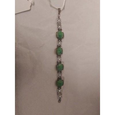 Faux Jade 1930's Bracelet Crome Plated
