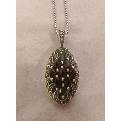 Marcasite and Garnet Pendant on 18inch Necklace 925