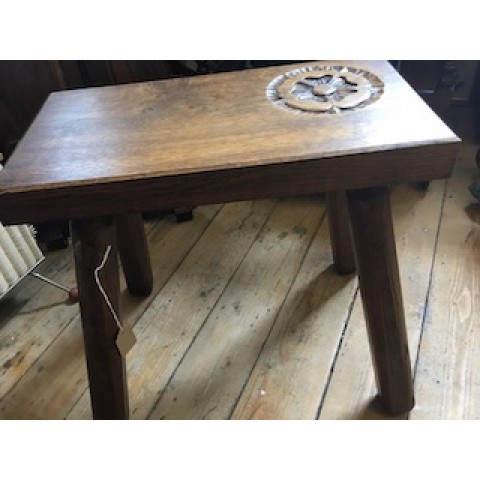 SOLD  Heavy Oak carved rose stool