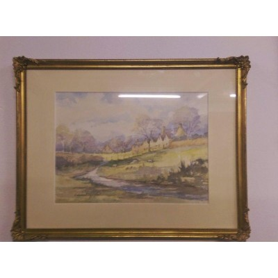 Watercolour Landscape by Edward Lightfoot in Gilt Frame