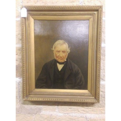 Male Victorian Portrait in Oil with Gilt Frame