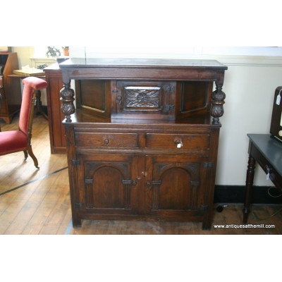 Small Carved Oak Court Cupboard