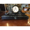 Black Slate & Veined Marble Scroll Top Clock