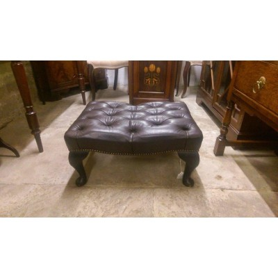 Dark-Brown Leather Buttoned Footstool