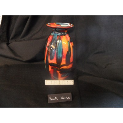 Anita Harris Art Pottery Orange Green and Black Trial Vase